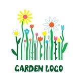 Garden logo with flowers - unusual simple  design Stock Image