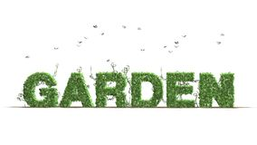 Garden - logo from green ivy leaves. And flying butterflies - separated on white background vector illustration