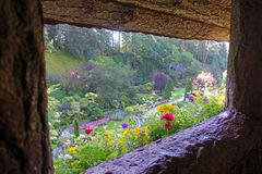 Garden lookout. Picture of the sunken garden at Butchart gardens,Victoria,Canada-taken from a lookout Royalty Free Stock Photos