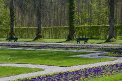 The garden of the Ludwig's palace, Bavaria Stock Photo