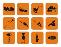 Garden machinery symbols Royalty Free Stock Photos