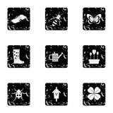 Garden maintenance icons set, grunge style Stock Image