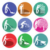 Garden maintenance web icons Stock Photos
