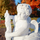 Garden marble statue of angel Stock Photos