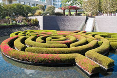 Garden Maze and Waterfalls. Famous ornamental garden in Los Angeles, California Royalty Free Stock Photography