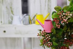 Little pink watering can on a green bush stock image