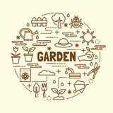 Garden minimal thin line icons set Stock Image