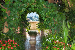 Garden in monastery of village Valldemossa. Chopin music composer lived with Georges Sand in monastery in Valldemossa Spain mountain village on island Mallorca Stock Photo