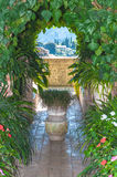 Garden in monastery of village Valldemossa. Chopin music composer lived with Georges Sand in monastery in Valldemossa Spain mountain village on island Mallorca Royalty Free Stock Photography