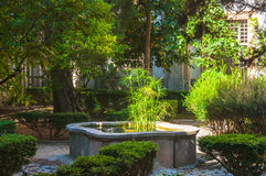 Garden in monastery of village Valldemossa. Chopin music composer lived with Georges Sand in monastery in Valldemossa Spain mountain village on island Mallorca Royalty Free Stock Photos