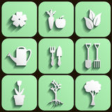 Garden and nature icon set Stock Illustration