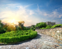 Garden near the castle. Vorontsov Palace in the town of Alupka, Crimea, Ukraine royalty free stock image