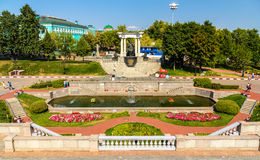 Garden near the Cathedral of Christ the Saviour in Moscow Royalty Free Stock Photos