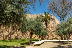 Garden near the Governors Castle. View of the garden near the Governors Castle Castelo dos Governadores in Lagos, Algarve, Portugal Royalty Free Stock Photo