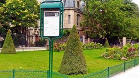 The garden near Notre Dame stock image