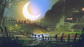 Garden at night with big crescent moon. Beautiful landscape of garden at night with big crescent moon, digital art style, illustration painting stock illustration