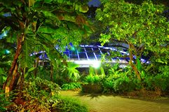 Garden by night at near Alexandra Road. Garden with a bridge in the background by night, near Alexandra road Stock Photo