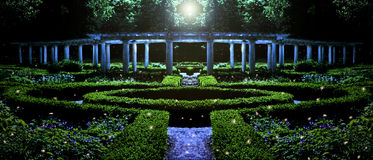 Garden at night. Garden with pillars at night depiction Royalty Free Stock Photos