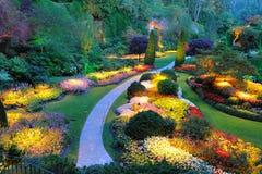 Garden night scene. Summer beautiful sunken garden night scene at the historic butchart gardens, victoria, british columbia, canada Stock Photos