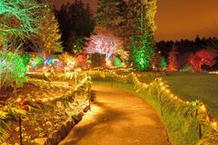 Garden night scene Royalty Free Stock Images