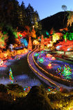 Garden night scene at christmas Royalty Free Stock Image