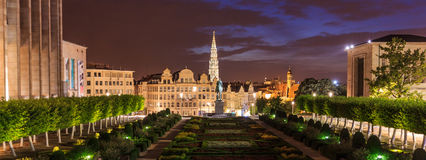 Garden Night scene of Mont des Arts ,Mount of Arts; or Kunstberg museum quarter, Brussels, Belgium Royalty Free Stock Image