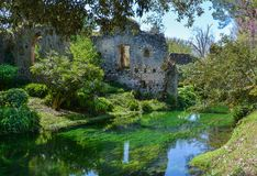 Garden of Ninfa, landscape garden in the territory of Cisterna di Latina, in the province of Latina, central Italy. The Garden of Ninfa is a landscape garden in Stock Photography