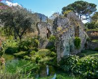 Garden of Ninfa, landscape garden in the territory of Cisterna di Latina, in the province of Latina, central Italy. The Garden of Ninfa is a landscape garden in Stock Image