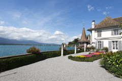 The garden of Oberhofen Castle, Switzerland Stock Photo