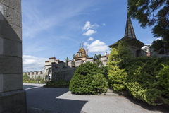 The garden of Oberhofen Castle, Switzerland stock photography