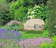 Free Garden Of Peace Paradise Chaise Lounge Longue Gardens Cat Pets Pet Animals Eden Peaceful Chair Seat Bench Stock Photo - 160754140