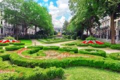 Garden Of Small Sablon Jardin Du Petit Sablon. Stock Photo