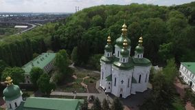 Garden of the old church of Ukraine stock footage