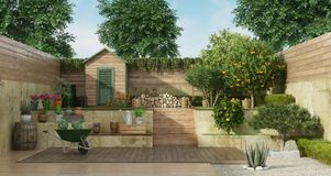 Free Garden On Two Levels With Wooden Shed And Fruit Tree Stock Photo - 143580220