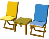 Garden onjects. Wooden chairs for putting them in garden Stock Image