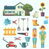 Garden and orchard. House garden tree tools watering gardener man and woman agrarian character. Vector flat illustration and icon Stock Image