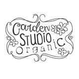 Garden Organic Studio Black And White Promo Sign Design Template With Calligraphic Text With Vintage Frame. Fresh Bio Food, Farming And Gardening Products Royalty Free Stock Images