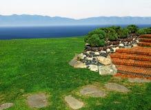 Garden overlook the ocean Stock Photo