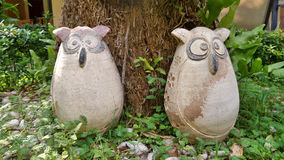 Garden owl dolls Royalty Free Stock Photo