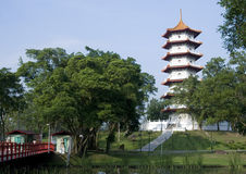 Garden with Pagoda stock images