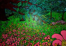Garden painting on canvas created background design. As abstract wallpaper royalty free illustration