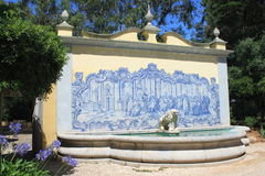 Garden of a palace. Blue and white traditional painted tiles in Cascais, Portugal stock photo