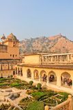 Garden, palace-fortress in India. The amber Fort, the Palace-fortress in India Royalty Free Stock Images