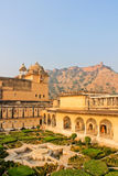 Garden, palace-fortress in India. The amber Fort, the Palace-fortress in India Stock Photography