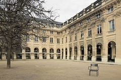 Garden of the Palais Royal (royal palace) in winter (Paris France) Royalty Free Stock Photography