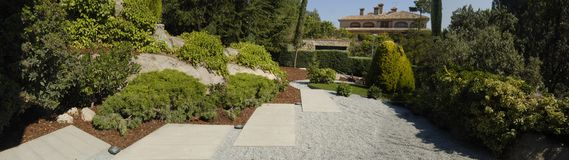 Garden panoramic. Garden with foliage and trees Stock Images