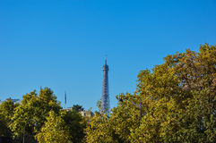 Garden of Paris with trees and buildings autumn. France Royalty Free Stock Image