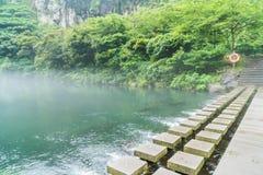 Garden Park at Cheonjiyeon Waterfalls in Jeju Island. South Korea Stock Photos