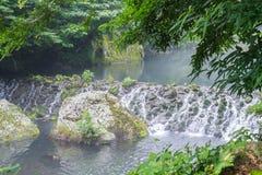 Garden Park at Cheonjiyeon Waterfalls in Jeju Island. South Korea Royalty Free Stock Photo