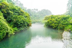 Garden Park at Cheonjiyeon Waterfalls in Jeju Island. South Korea Royalty Free Stock Photography